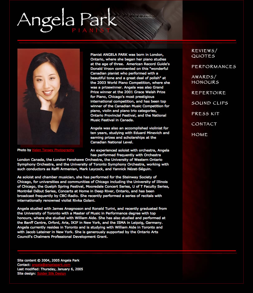 Angela Park web site screenshot