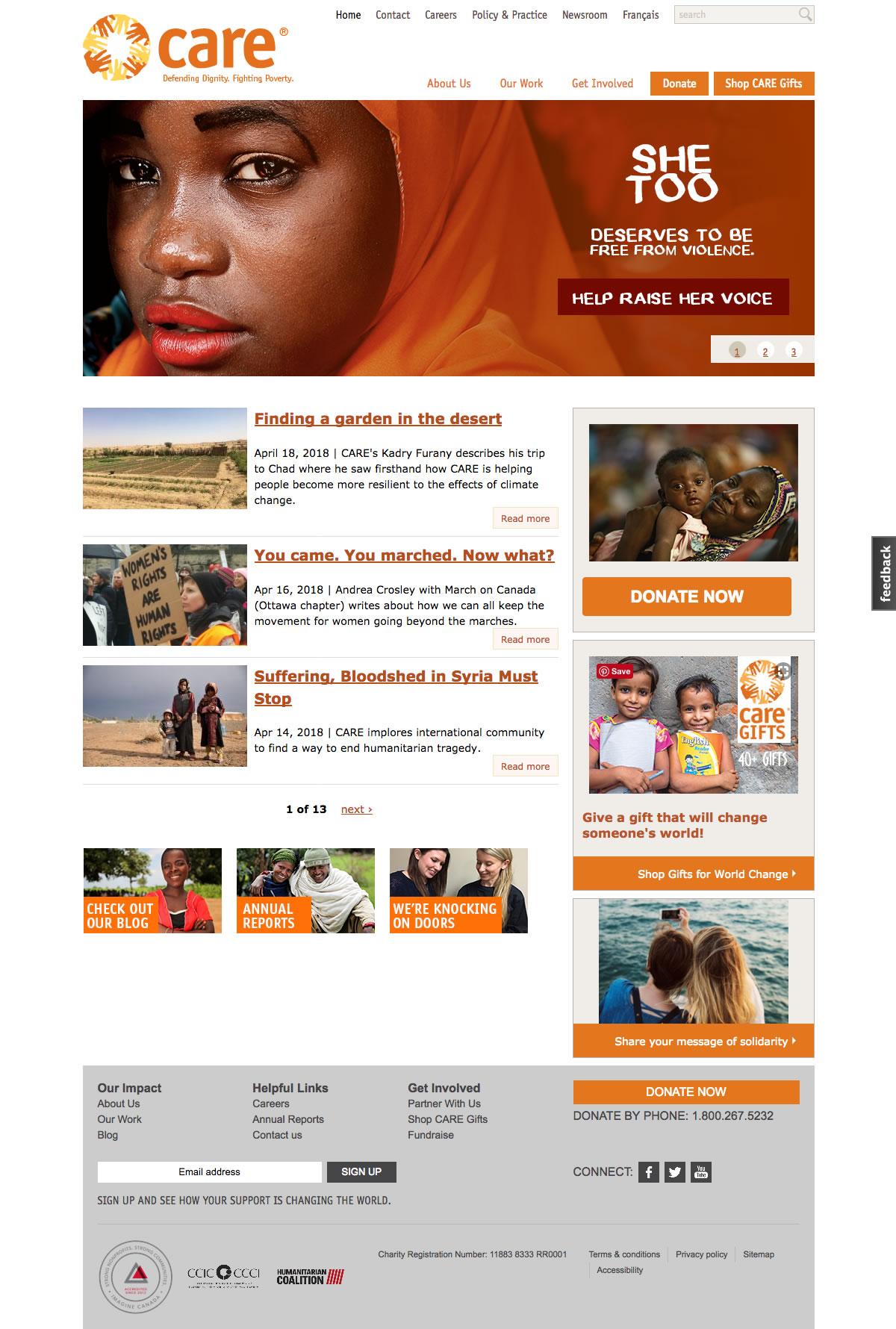 CARE Canada web site screenshot