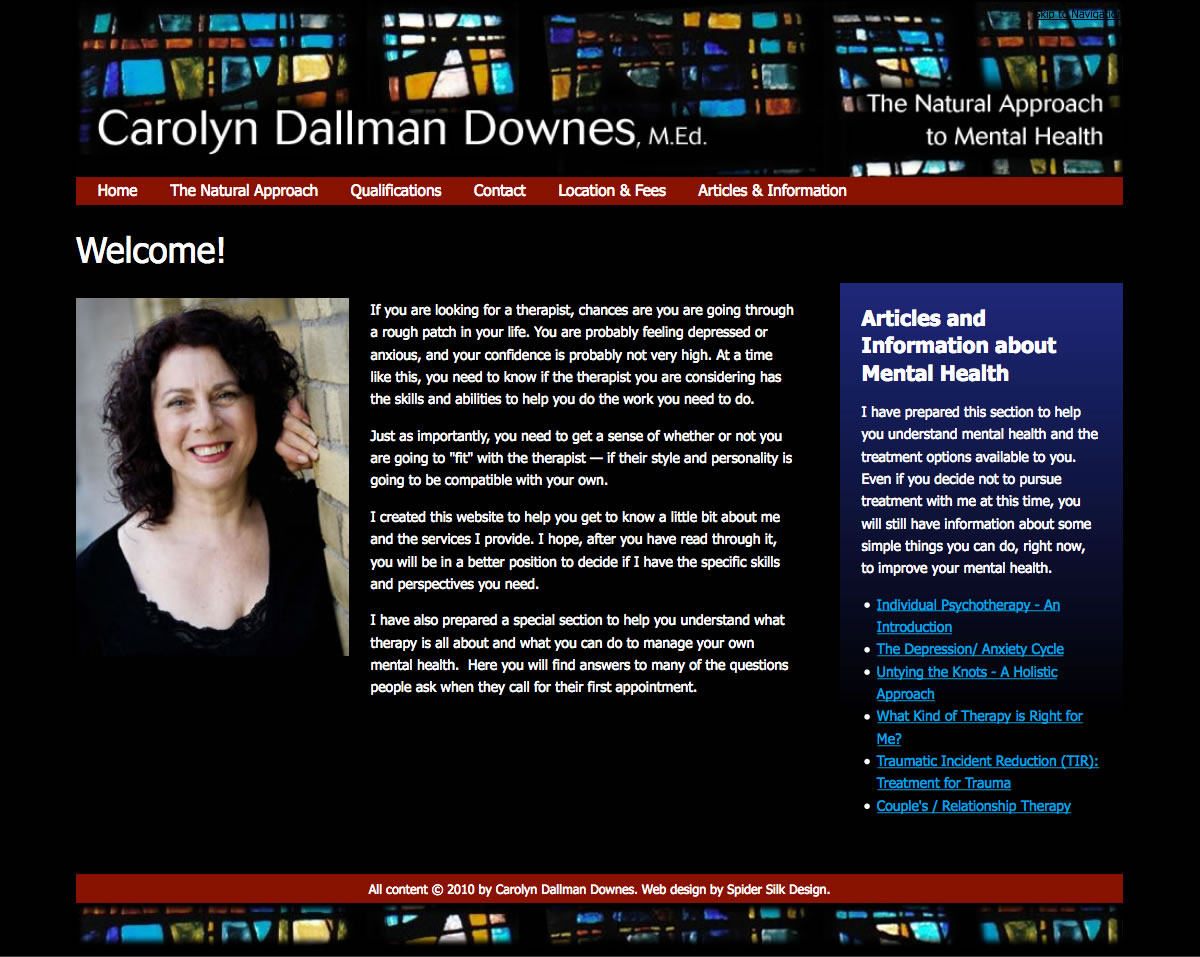 Carolyn Dallman Downes web site screenshot
