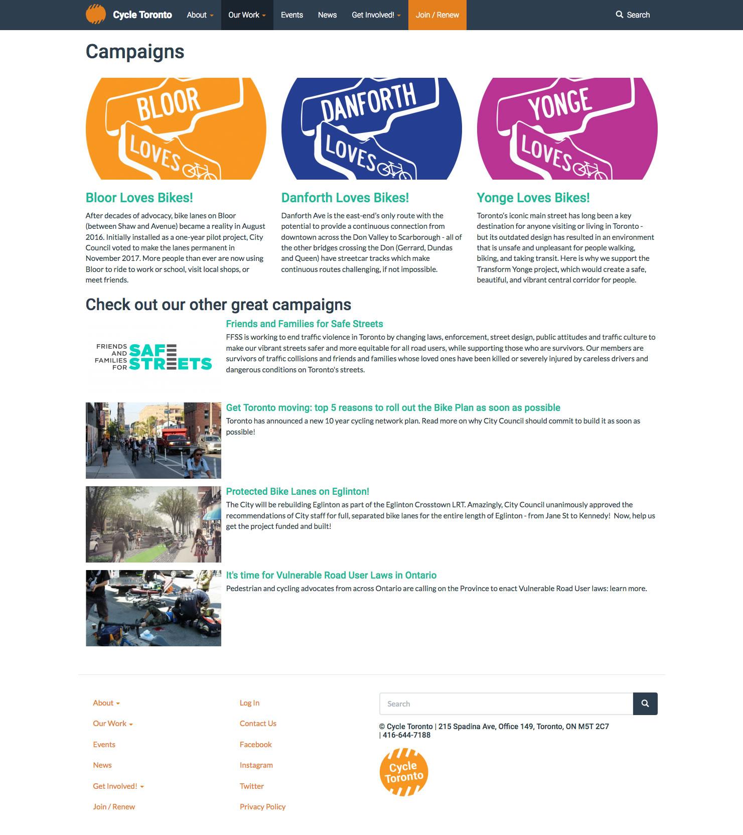 Cycle Toronto web site screenshot