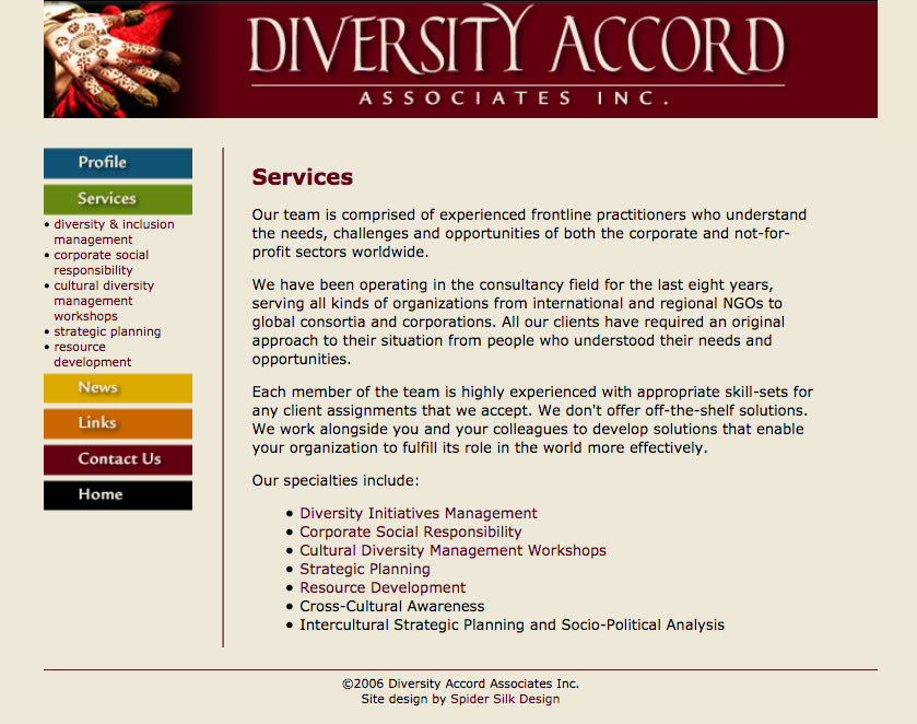 Diversity Accord Associates screenshot (services page)