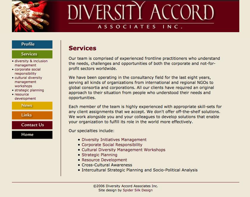 Diversity Accord Associates screenshot (services page)