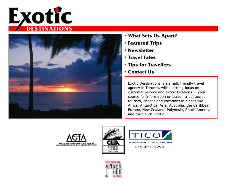 Exotic Destinations web site screenshot