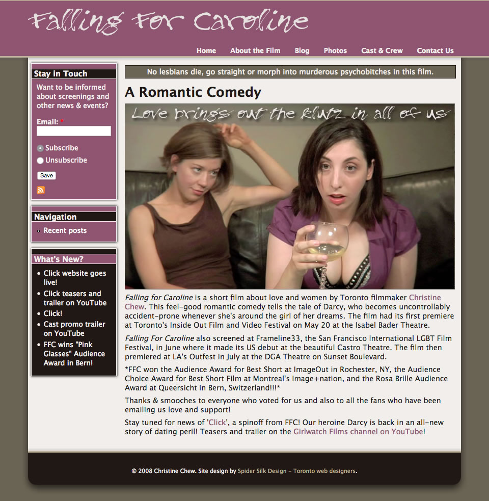 Falling For Caroline web site screenshot