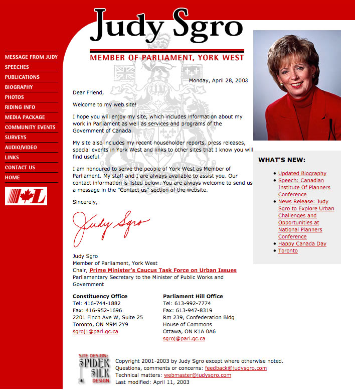 Judy Sgro web site screenshot