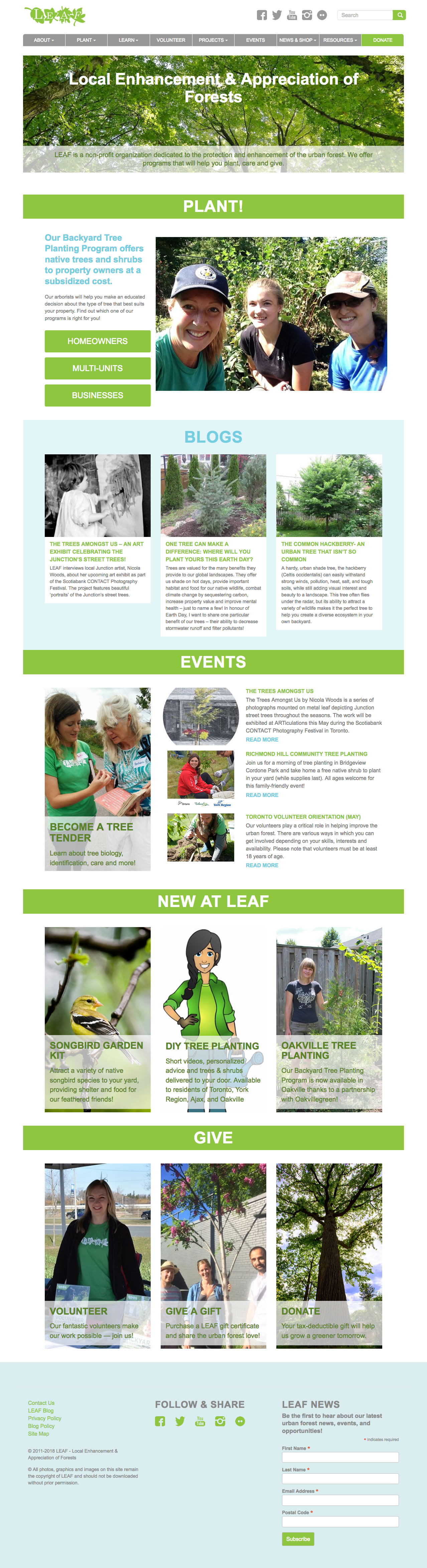 LEAF web site screenshot
