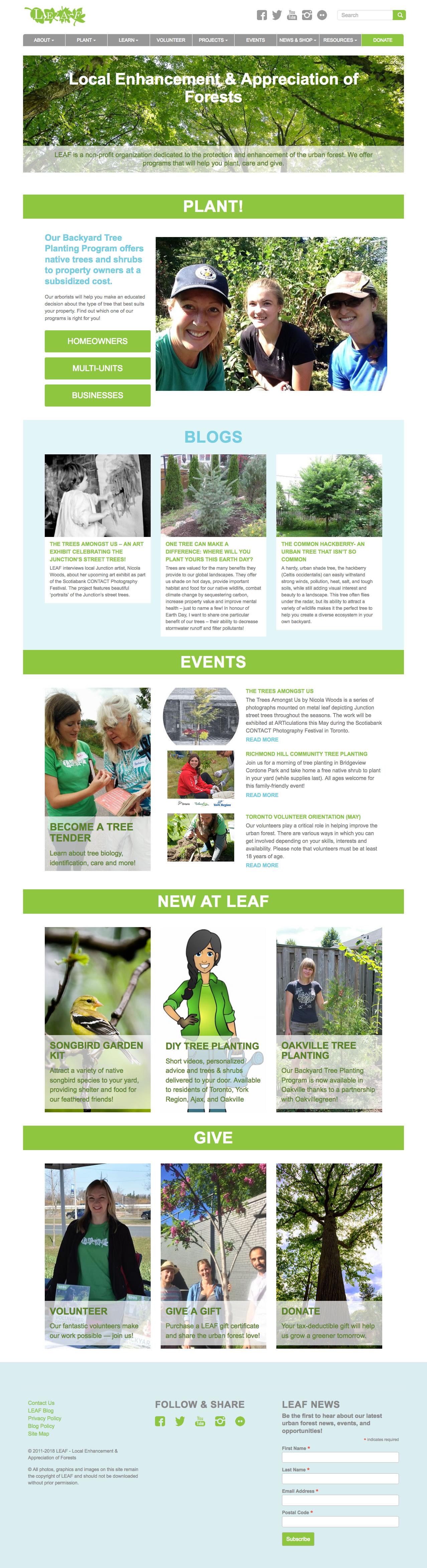 LEAF web site screenshot