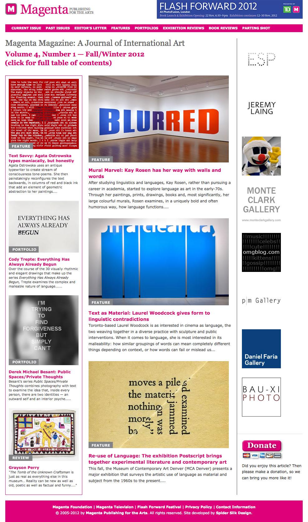 Magenta Magazine web site screenshot