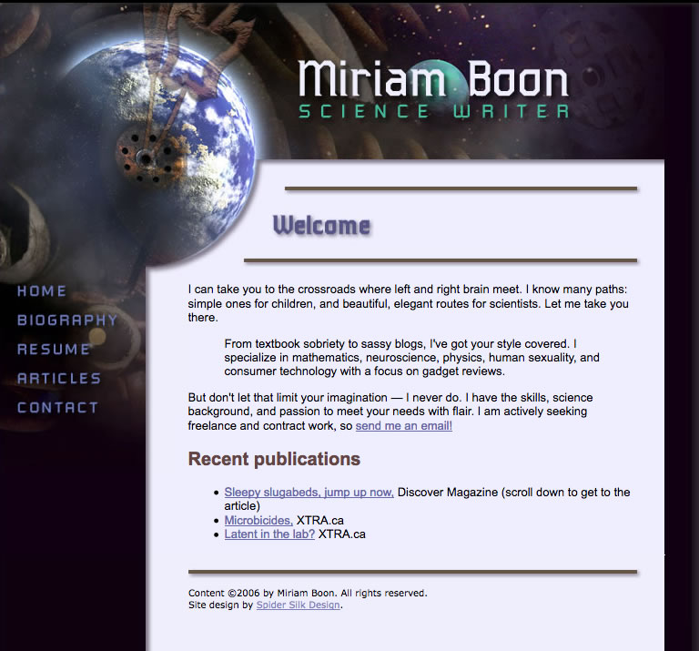 Miriam Boon web site screenshot