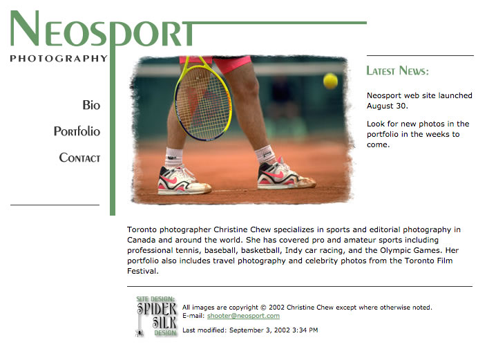 Neosport Photography web site screenshot