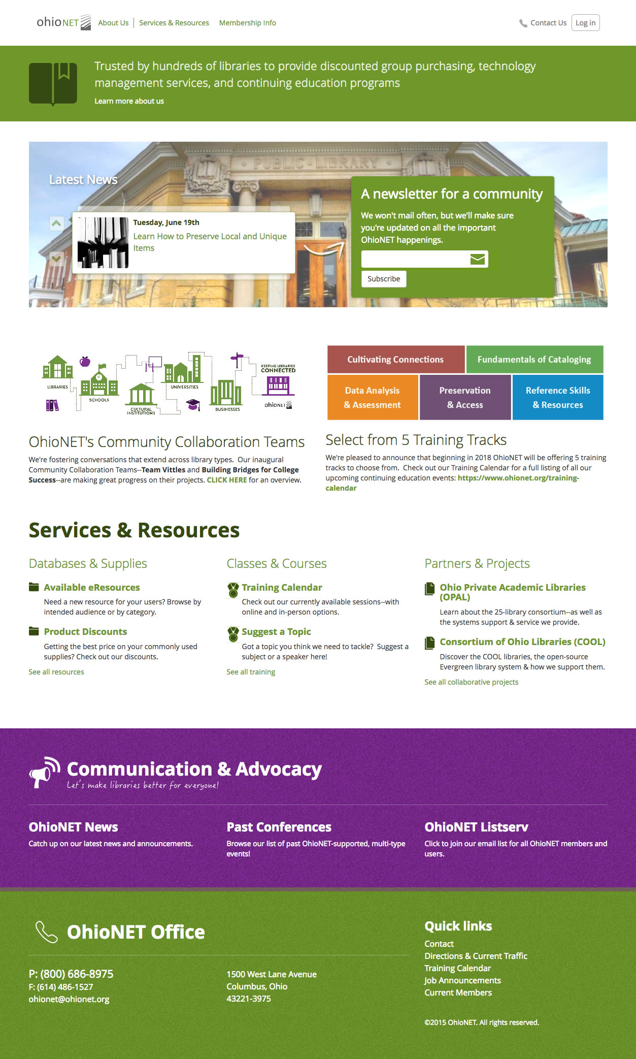 OhioNET web site screenshot