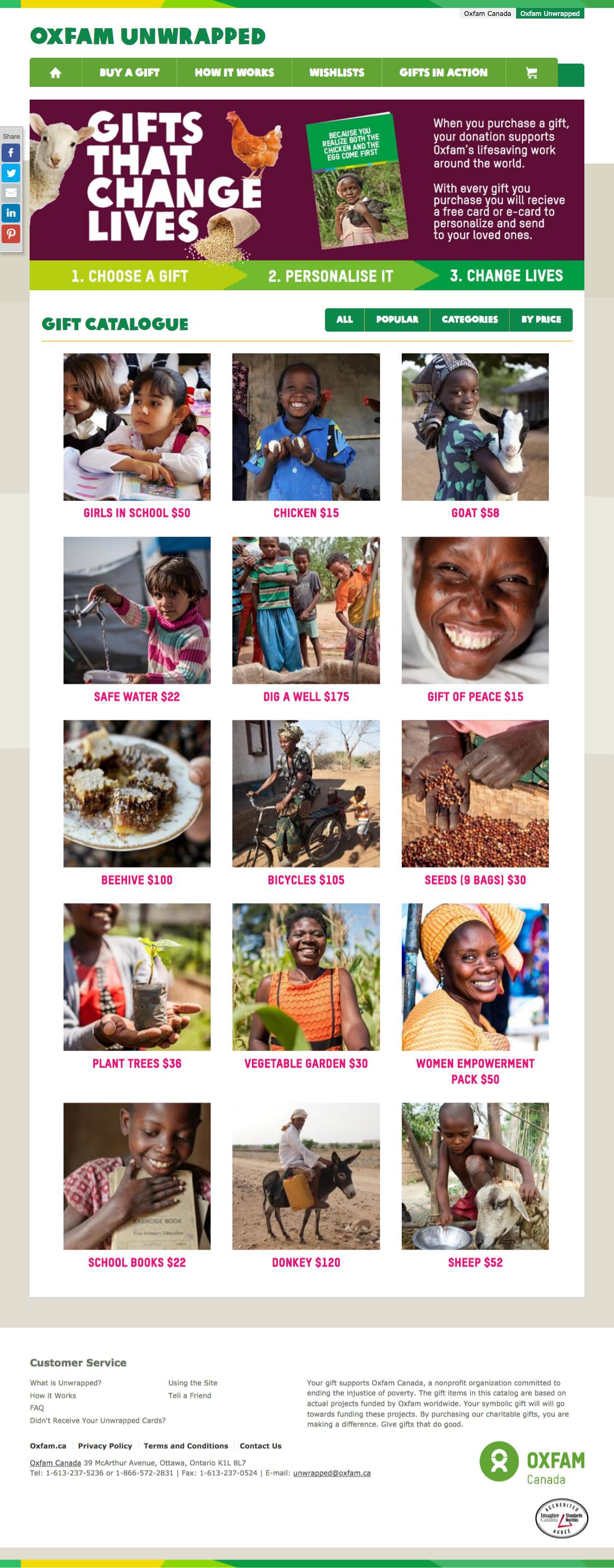 Oxfam Unwrapped web site screenshot