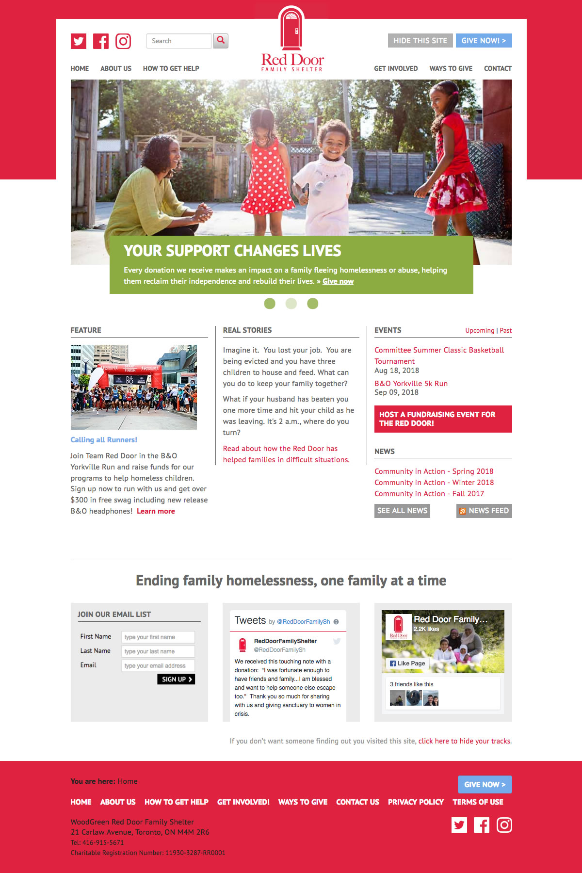 Red Door Family Shelter web site screenshot