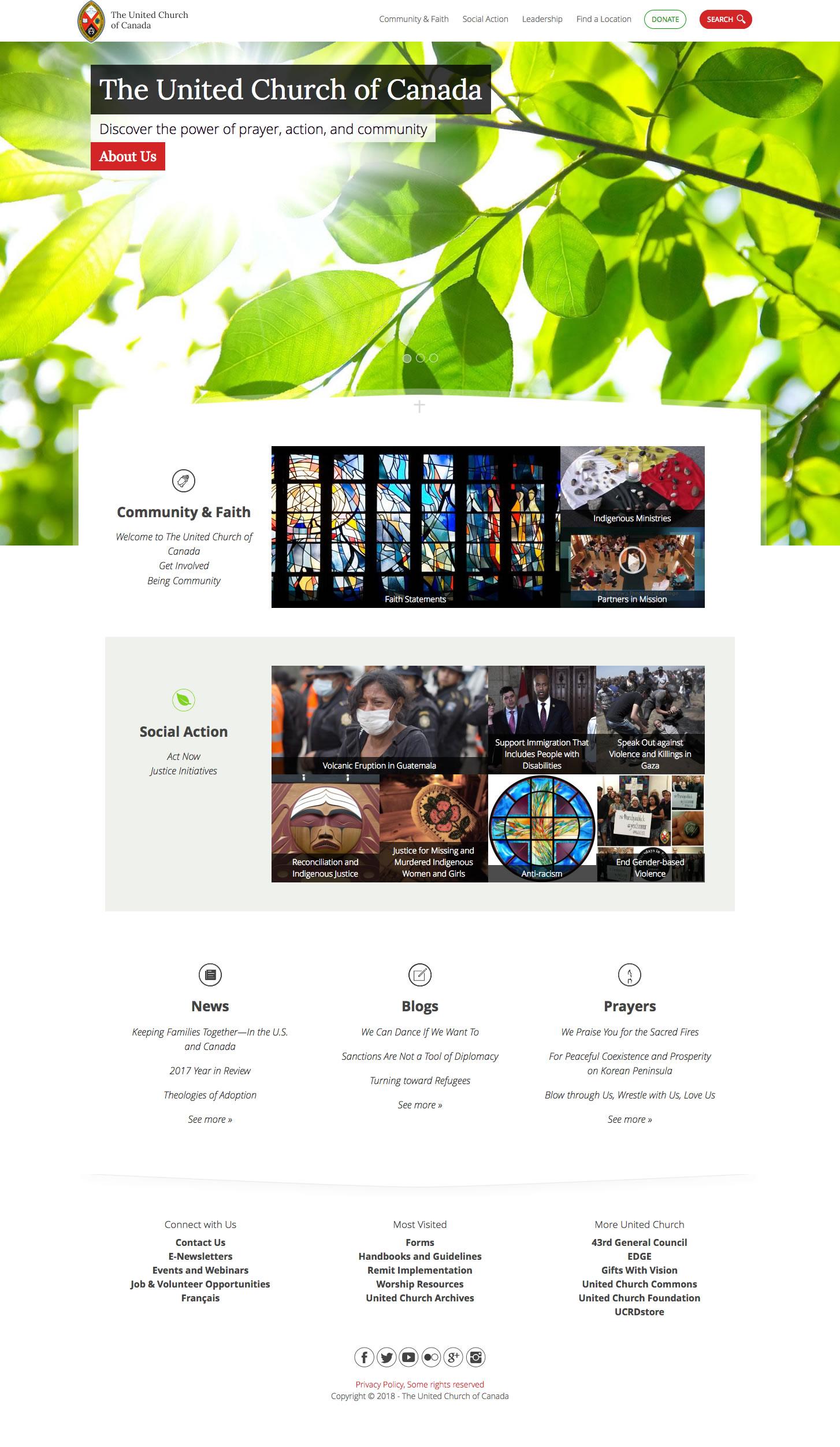 United Church of Canada web site screenshot