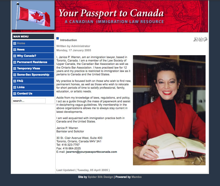 Your Passport to Canada web site screenshot
